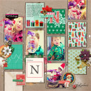 Christmas scrapbook layout by AmberR using Wood Veneer: Christmas, Daily Date Brads, Project Life - Vintage Christmas Alpha Cards by Sahlin Studio