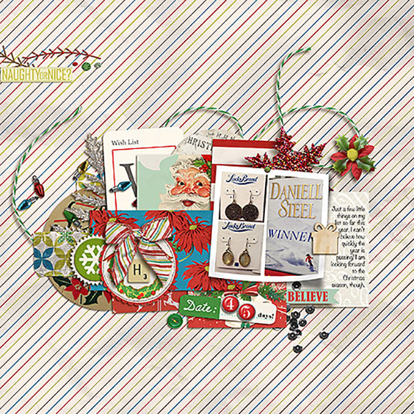 Christmas layout created by Heather Prins featuring Kitschy Christmas by Sahlin Studio and Jenn Barrette