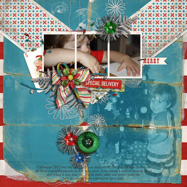 Christmas layout created by justagirl featuring Kitschy Christmas by Sahlin Studio and Jenn Barrette