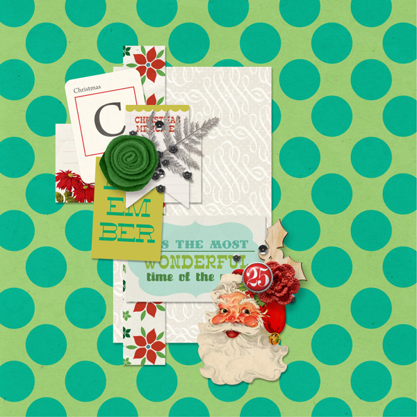 Christmas layout created by MlleTerraMoka featuring Kitschy Christmas by Sahlin Studio and Jenn Barrette