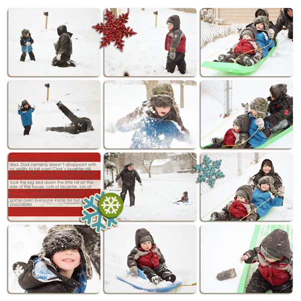 Snow layout created by plumdumpling featuring Kitschy Christmas by Sahlin Studio and Jenn Barrette