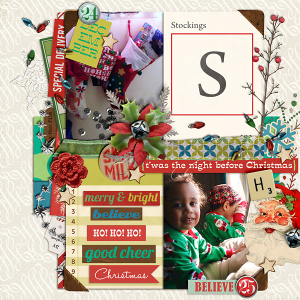 Christmas layout created by PuSticks featuring Kitschy Christmas by Sahlin Studio and Jenn Barrette