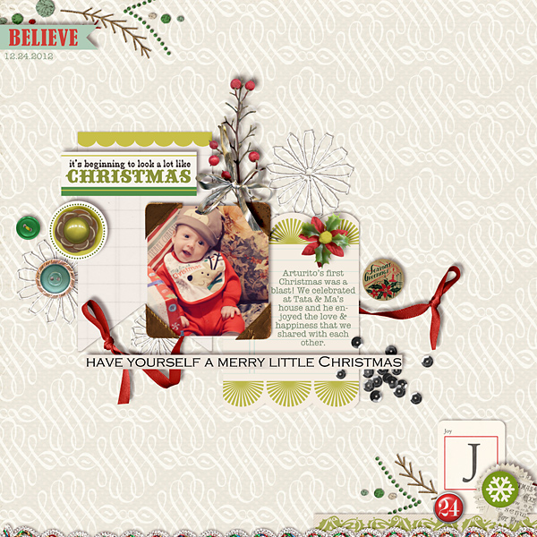 Christmas layout created by raquels featuring Kitschy Christmas by Sahlin Studio and Jenn Barrette