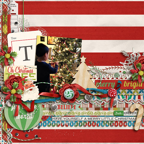 Christmas layout created by scrappydonna featuring Kitschy Christmas by Sahlin Studio and Jenn Barrette