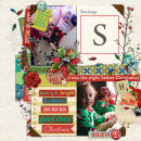 Christmas layout by PuSticks using Wood Veneer: Christmas, Daily Date Brads No.1, Daily Date Brads No.2, Vintage Christmas Alpha Cards by Sahlin Studio