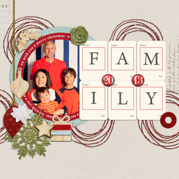 Christmas Family scrapbook layout by mikinenn using Wood Veneer: Christmas, Daily Date Brads, Project Life - Vintage Christmas Alpha Cards by Sahlin Studio