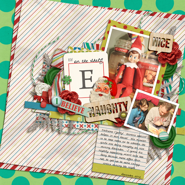 Elf on a Shelf Christmas layout by my2monkeys using Wood Veneer: Christmas, Daily Date Brads, Vintage Christmas Alpha Cards by Sahlin Studio
