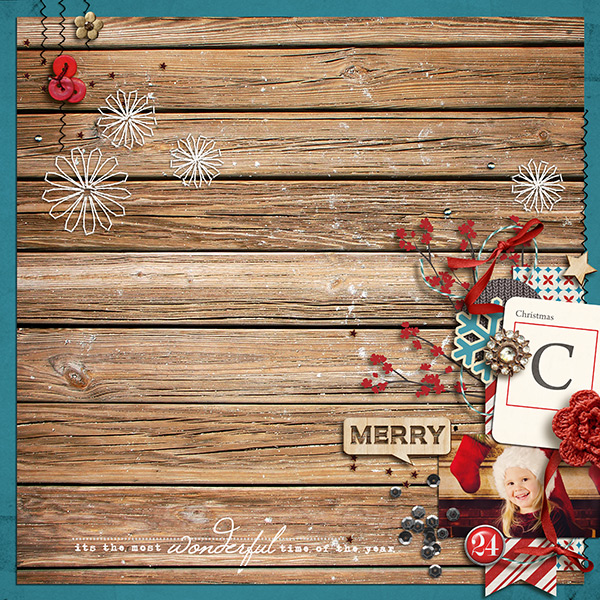 christmas layout by sucali using Wood Veneer: Christmas, Daily Date Brads No.1, Vintage Christmas Alpha Cards by Sahlin Studio