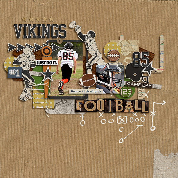 Football digital scrapbook layout using Sports: Football by Sahlin Studio