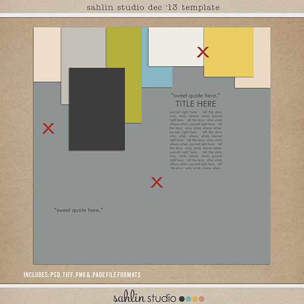 FREE Digital Scrapbooking Template - Dec '13 by Sahlin Studio