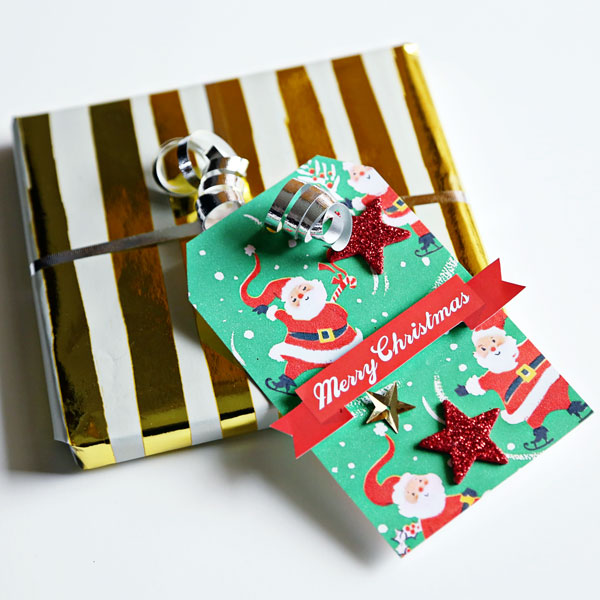 Christmas hybrid tags by Cristina using Santa's Workshop by Sahlin Studio