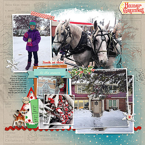 Christmas digital layout by Heather Prins using Santa's Workshop by Sahlin Studio