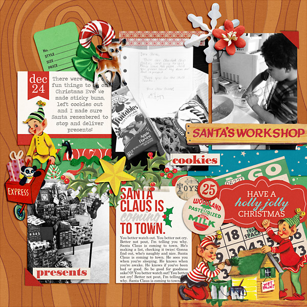 Christmas digital layout by PuSticks using Santa's Workshop by Sahlin Studio