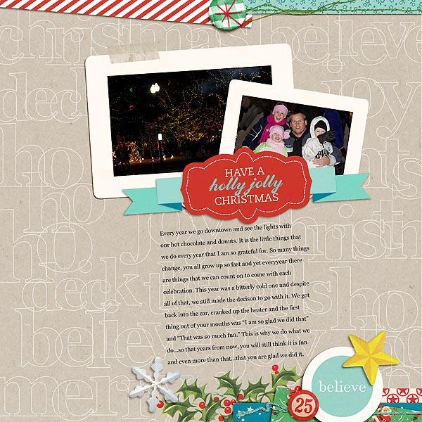 Christmas digital layout by mamatothree using Santa's Workshop by Sahlin Studio