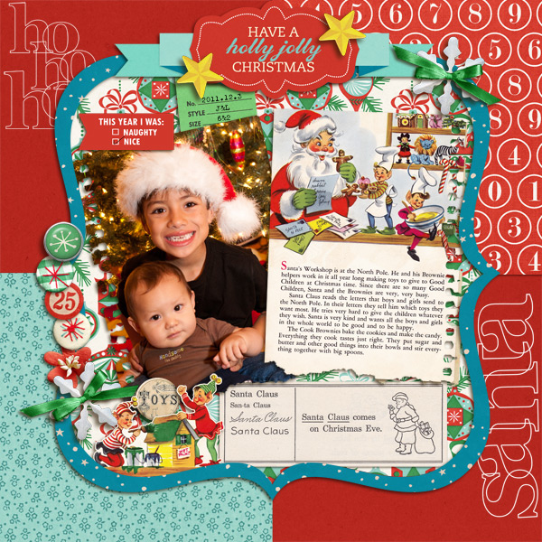 Christmas digital layout by mikinenn using Santa's Workshop by Sahlin Studio