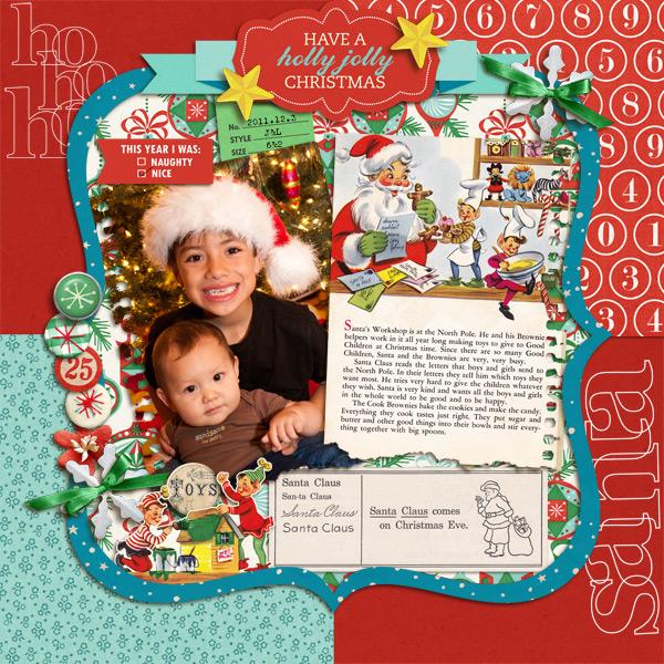 Christmas digital layout by mikinenn using Santa's Workshop by Sahlin Studio