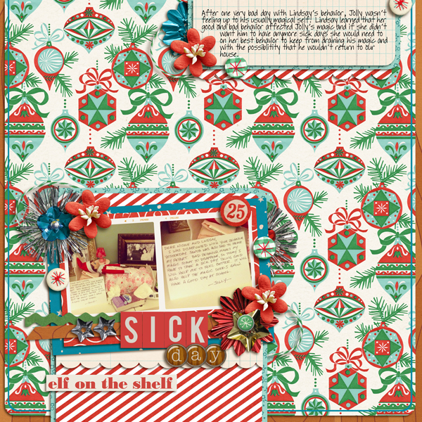 elf on a shelf digital layout by my2monkeys using Santa's Workshop by Sahlin Studio
