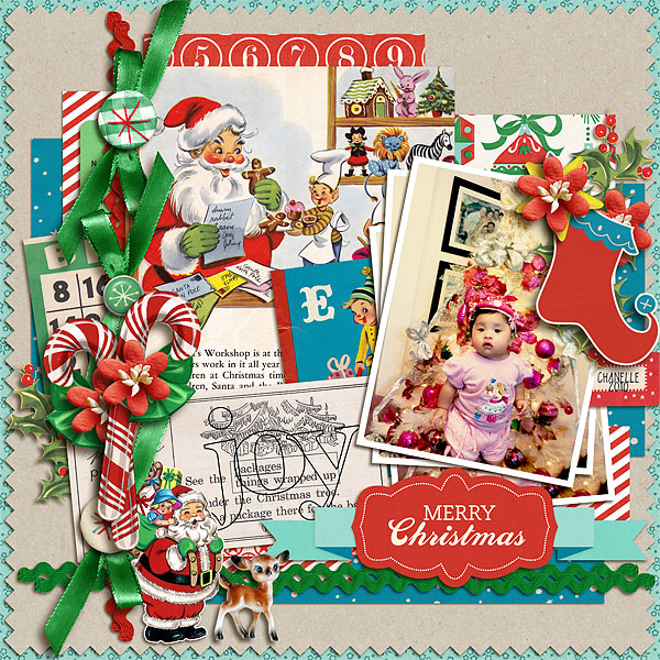 Christmas digital layout by scrappydonna using Santa's Workshop by Sahlin Studio