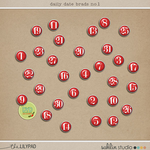 Digital Daily Date Brads by Sahlin Studio. Perfect for your December Daily or December Albums