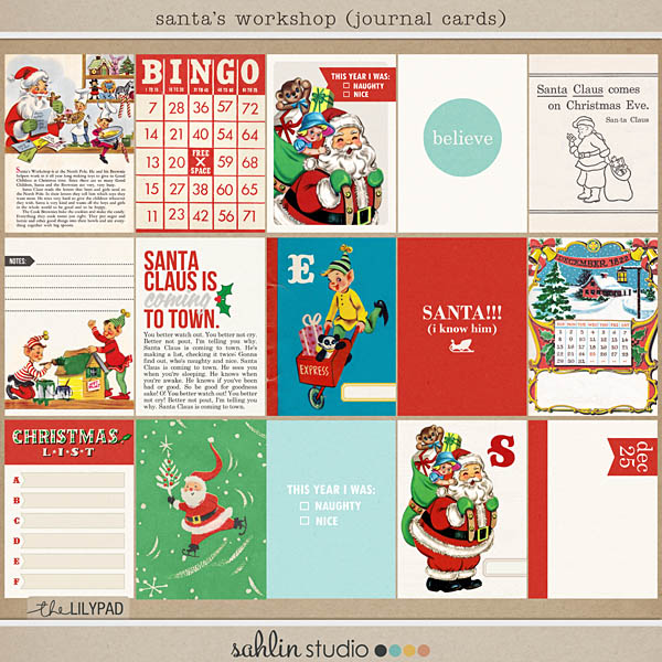 santa's workshop (journal cards) by sahlin studio