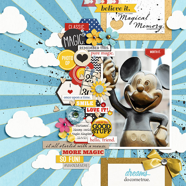 Disney Mickey Digital Scrapbook Layout by pusticks using FREE Template & Project Mouse by Sahlin Studio