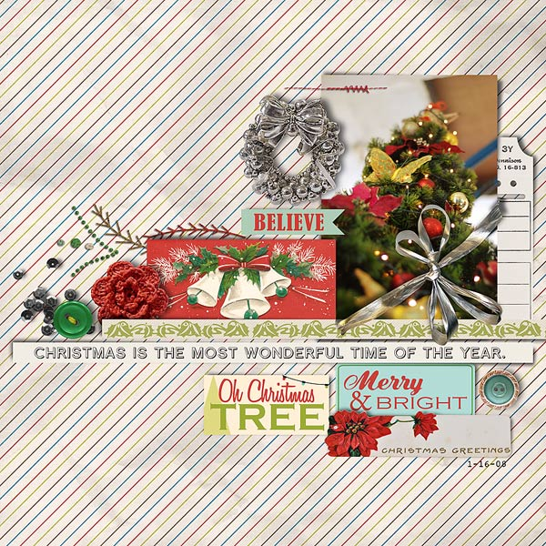 Christmas layout featuring Kitschy Christmas by Sahlin Studio and Jenn Barrette