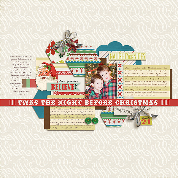 Christmas layout created by carolee featuring Kitschy Christmas by Sahlin Studio and Jenn Barrette