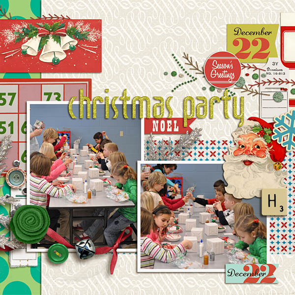 Christmas layout created by kristasahlin featuring Kitschy Christmas by Sahlin Studio and Jenn Barrette