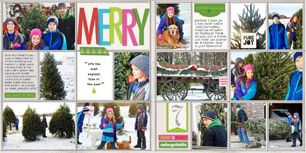 Christmas project life double page layout by RebeccaH using Project Mouse: Christmas by Britt-ish Designs  & Sahlin Studio