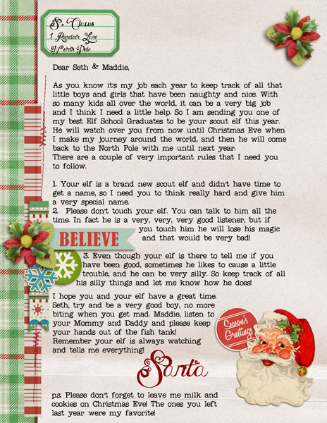 Santa Letter featuring Kitschy Christmas by Sahlin Studio and Jenn Barrette