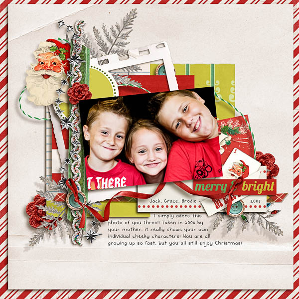 Christmas layout by wombat146 featuring Kitschy Christmas by Sahlin Studio and Jenn Barrette