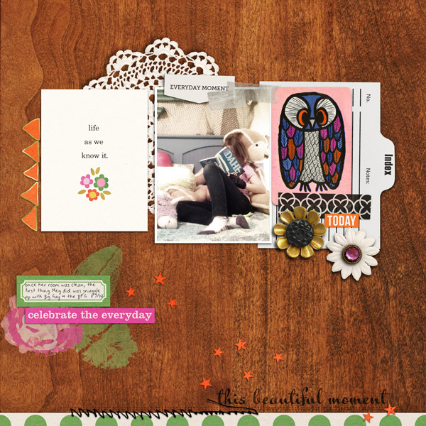 Everyday scrapbook layout by RebeccaH using Life As We Know It kit by sahlin studio and sugarplum paperie