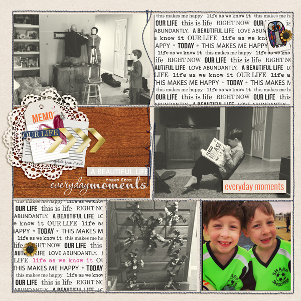 Everyday Moments scrapbook layout by bderby using Life As We Know It kit by sahlin studio and sugarplum paperie