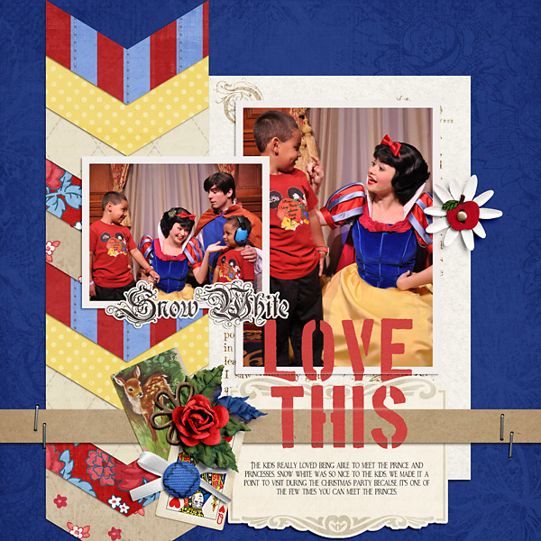 Love This digital scrapbooking layout by PuSticks using Stamped Sentiments Digital Word Art No. 2: Love by Sahlin Studio