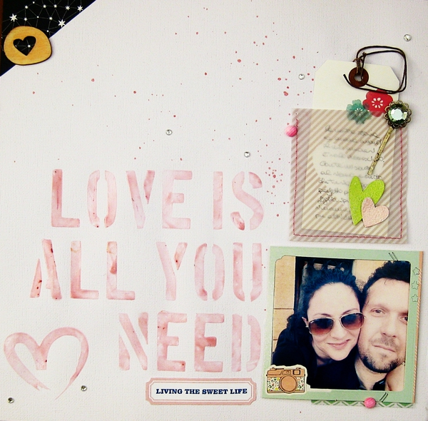 Love Is All You Need hybrid layout by Rossana using Stamped Sentiments Digital Word Art No. 2: Love by Sahlin Studio