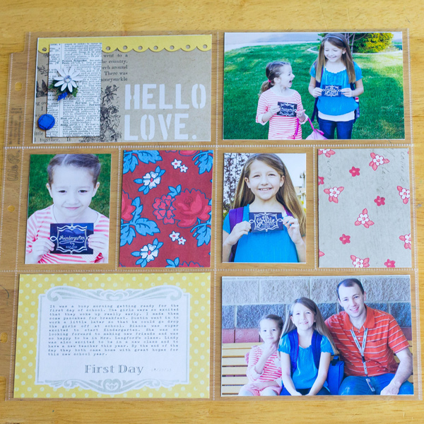 Hello Love hybrid pocket scrapbooking layout by aballen using Stamped Sentiments Digital Word Art No. 2: Love by Sahlin Studio