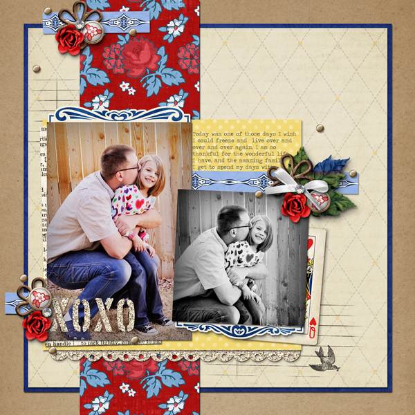 xoxo digital layout by ajjones using Stamped Sentiments Digital Word Art No. 2: Love by Sahlin Studio