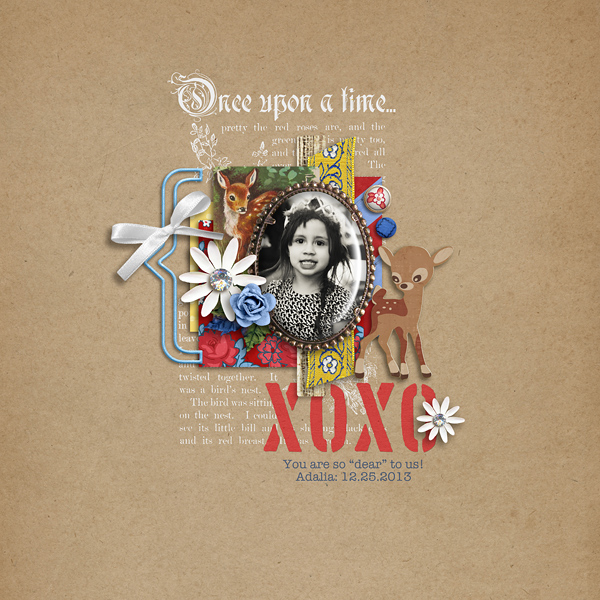 xoxo digital layout by raquels using Stamped Sentiments Digital Word Art No. 2: Love by Sahlin Studio