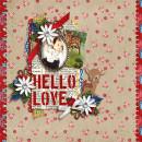 Hello Love digital layout by scrappydonna using Stamped Sentiments Digital Word Art No. 2: Love by Sahlin Studio