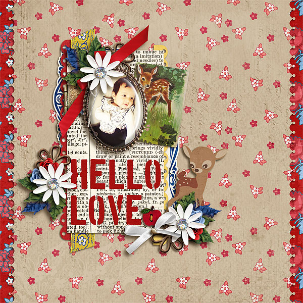 Hello Love digital layout by scrappydonna using Stamped Sentiments Digital Word Art No. 2: Love by Sahlin Studio