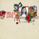 Hello Love digital layout by sucali using Stamped Sentiments Digital Word Art No. 2: Love by Sahlin Studio