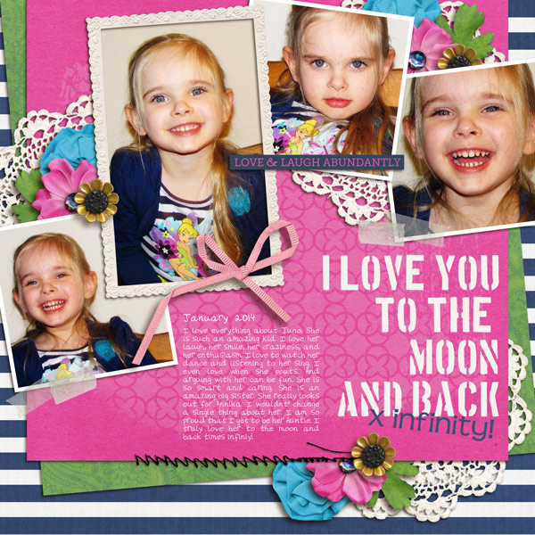 I love you to the moon and back digital layout by yzerbear19 using Stamped Sentiments Digital Word Art No. 2: Love by Sahlin Studio