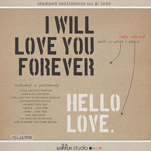 Stamped Sentiments Digital Word Art No. 2: Love by Sahlin Studio