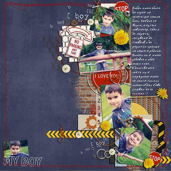 Boy digital scrapbook layout by Iv featuring Grunge by Sahlin Studio