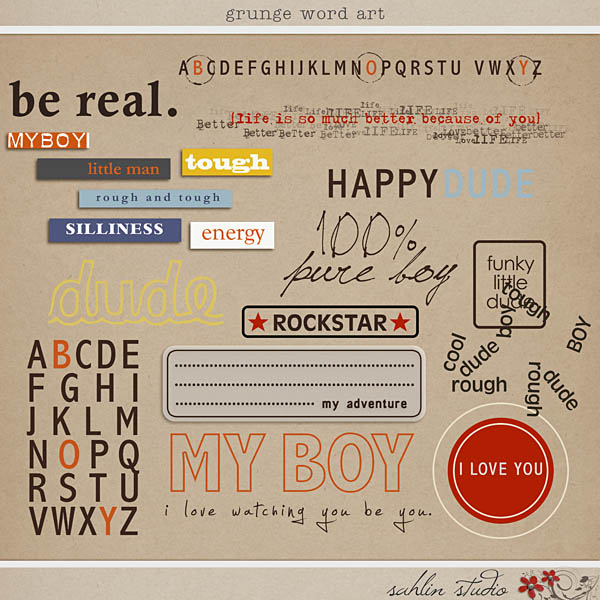 Grunge Word Art by Sahlin Studio - Perfect for scrapbooking the special boy in your life.