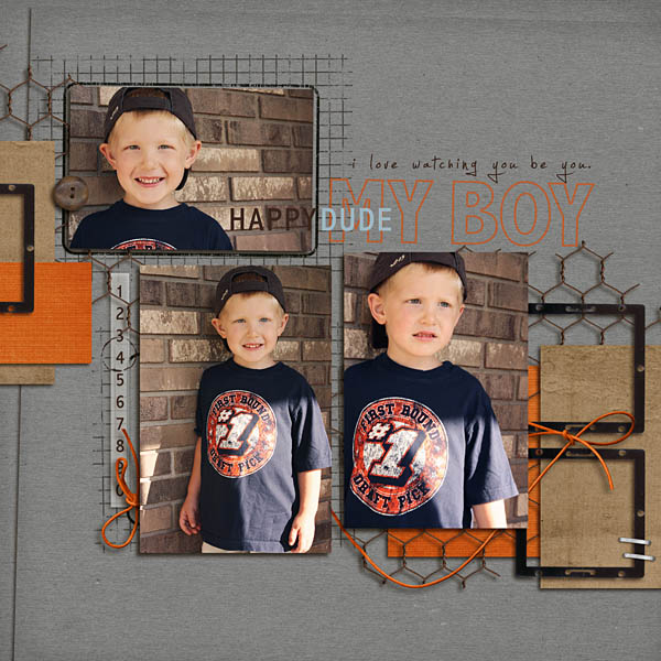 Boy digital scrapbook layout by kristasahlin featuring Grunge by Sahlin Studio