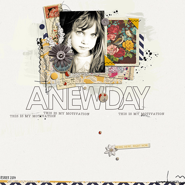 A new day digital layout by louso using Journal Starter: Motivational Word Art by Sahlin Studio