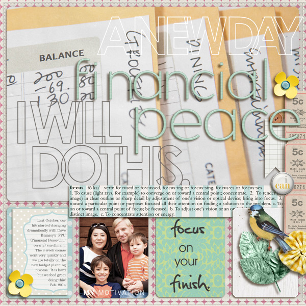 Financial planning peace Inspirational digital scrapbooking layout by mikinenn using Motivational Word Art by Sahlin Studio