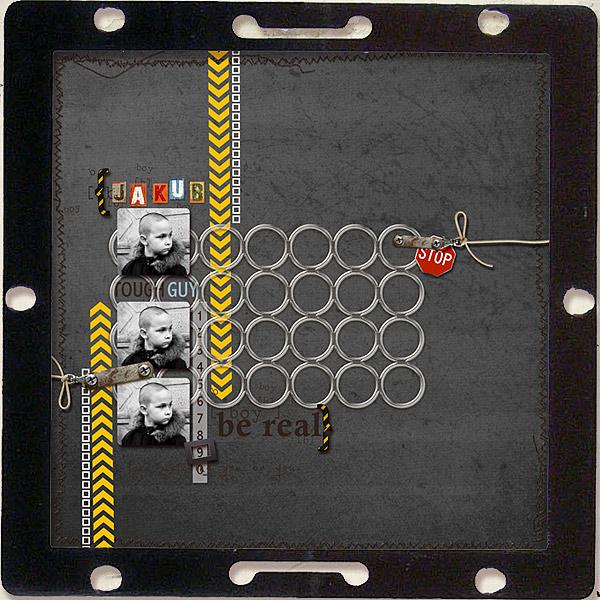 Boy digital scrapbook layout featuring Grunge by Sahlin Studio