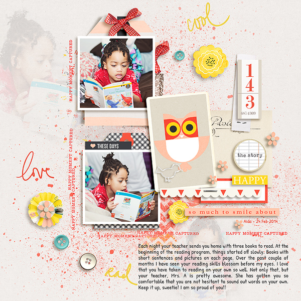 Reading digital scrapbook layout by Tronesia using Pure Happiness by Sahlin Studio